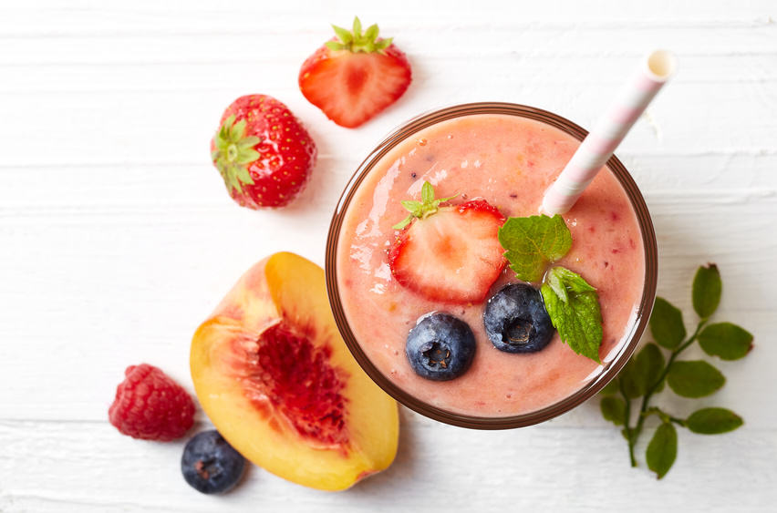 smoothie pêche fraise